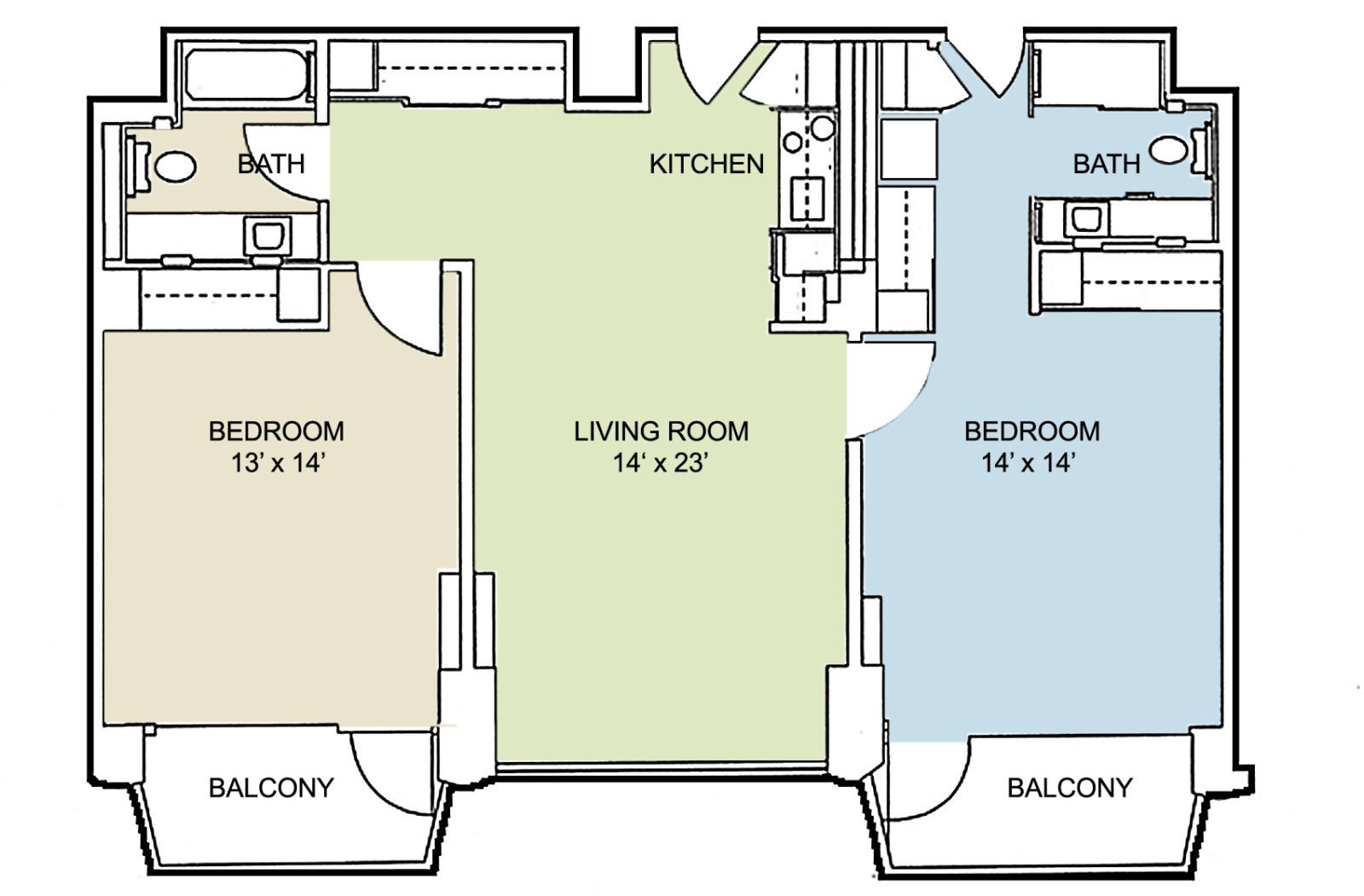 Retirement apartments studio one two bedrooms in for Retirement apartment plans