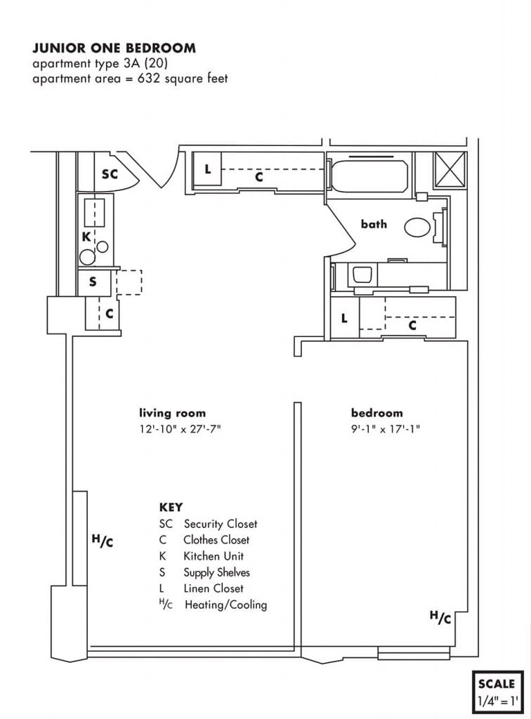 Jr. One Bedroom Apartment